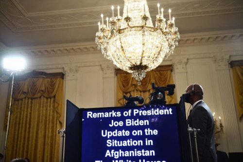 A teleprompter is ready for the beginning of a speech before US President Joe Biden delivers remarks about the situation in Afghanistan at the White House on August 16, 2021 in Washington,DC [BRENDAN SMIALOWSKI/AFP via Getty Images]