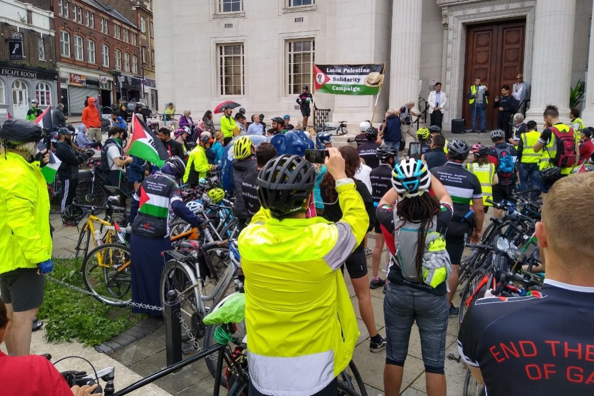 Big Ride for Palestine in Luton on 31 July 2021 [annamacchomeop/Twitter]