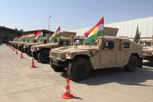 ERBIL, IRAQ - SEPTEMBER 08: A view of military vehicles as US-led anti-Daesh/ISIS coalition provides 150 vehicles to the Peshmerga forces of Iraq's Kurdish Regional Government (IKRG) in Erbil, Iraq on September 08, 2021. ( Karzan Mohammad - Anadolu Agency )