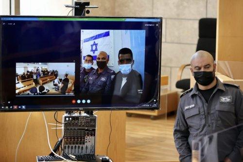 The hearing of Zakaria Zubeidi, Mahmoud al-Arida, Yakub Qaderi, and Mohammad Al-Arida held via video conference in Nazareth, Israel on September 19, 2021 [Mostafa Alkharouf/Anadolu Agency]