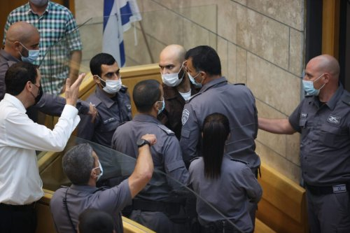 NAZARETH, ISRAEL - SEPTEMBER 19: The hearing of Iham Kamamji, who was caught early on Sunday inside a house in the West Bank city of Jenin, after escaping Gilboa Prison, held in in Nazareth, Israel on September 19, 2021. Six Palestinian inmates had tunneled out of the high-security Gilboa Prison in northern Israel on Sept. 6. Israeli forces, however, managed to recapture four of them last week after a large-scale manhunt. ( Mostafa Alkharouf - Anadolu Agency )