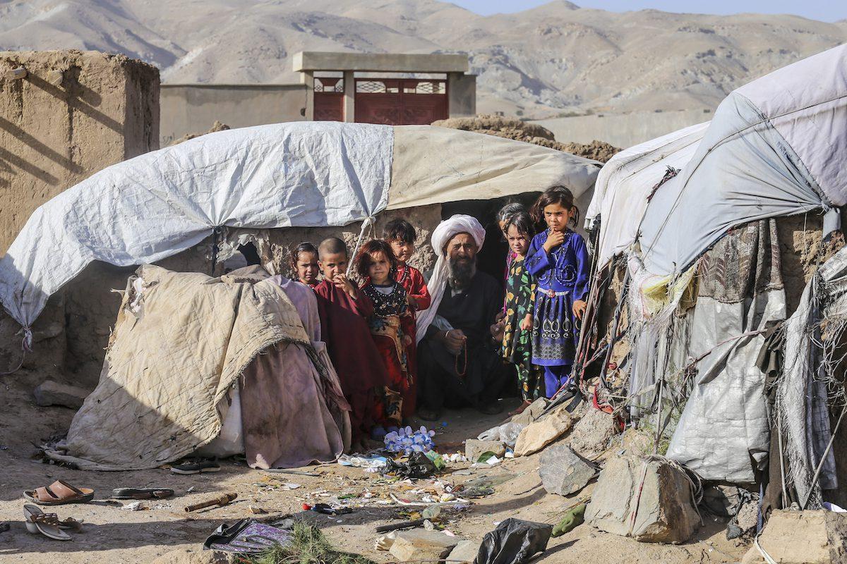 Displaced children are seen in Afghanistan on 16 September 2021 [Stringer/Anadolu Agency]