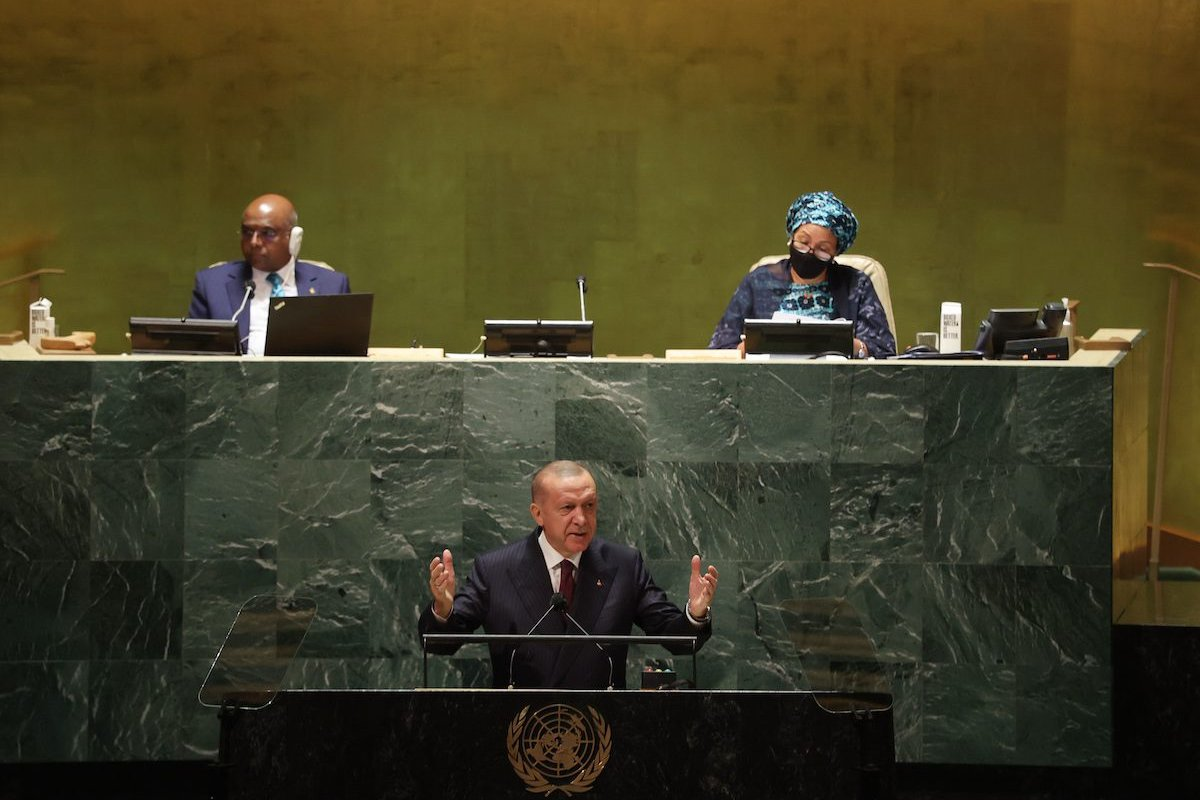 Turkish President Recep Tayyip Erdogan addresses the participants at the 76th session of United Nations General Assembly, in New York, United States on 21 September 2021. [Murat Kula - Anadolu Agency]
