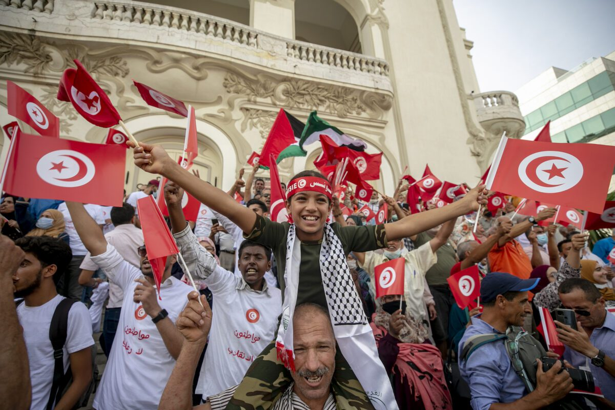 People stage a protest against the extraordinary decisions of President Kays Said in Tunis, Tunisia on September 26, 2021 [Yassine Gaidi/Anadolu Agency]