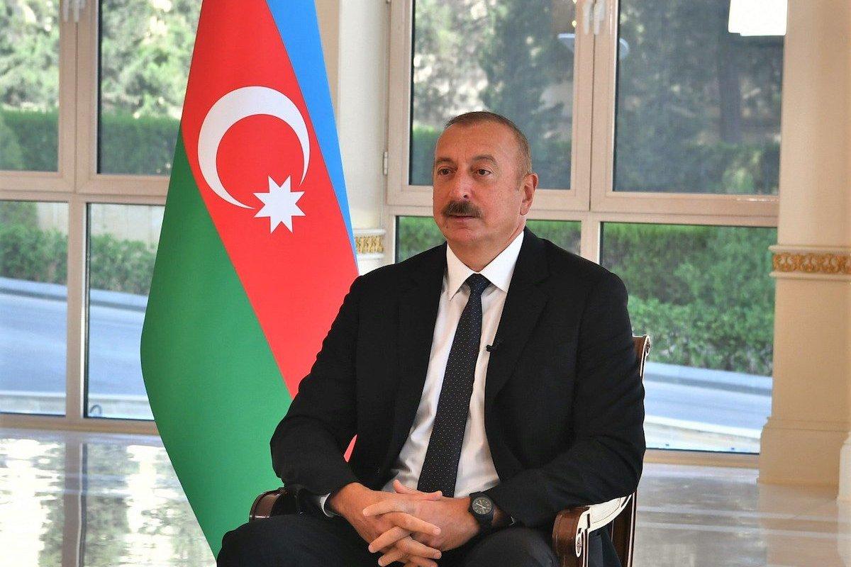 President of Azerbaijan, Ilham Aliyev on Sept. 27, 2020, in Baku, Azerbaijan on September 24, 2021. [ PRESIDENCY OF AZERBAIJAN - Anadolu Agency ]