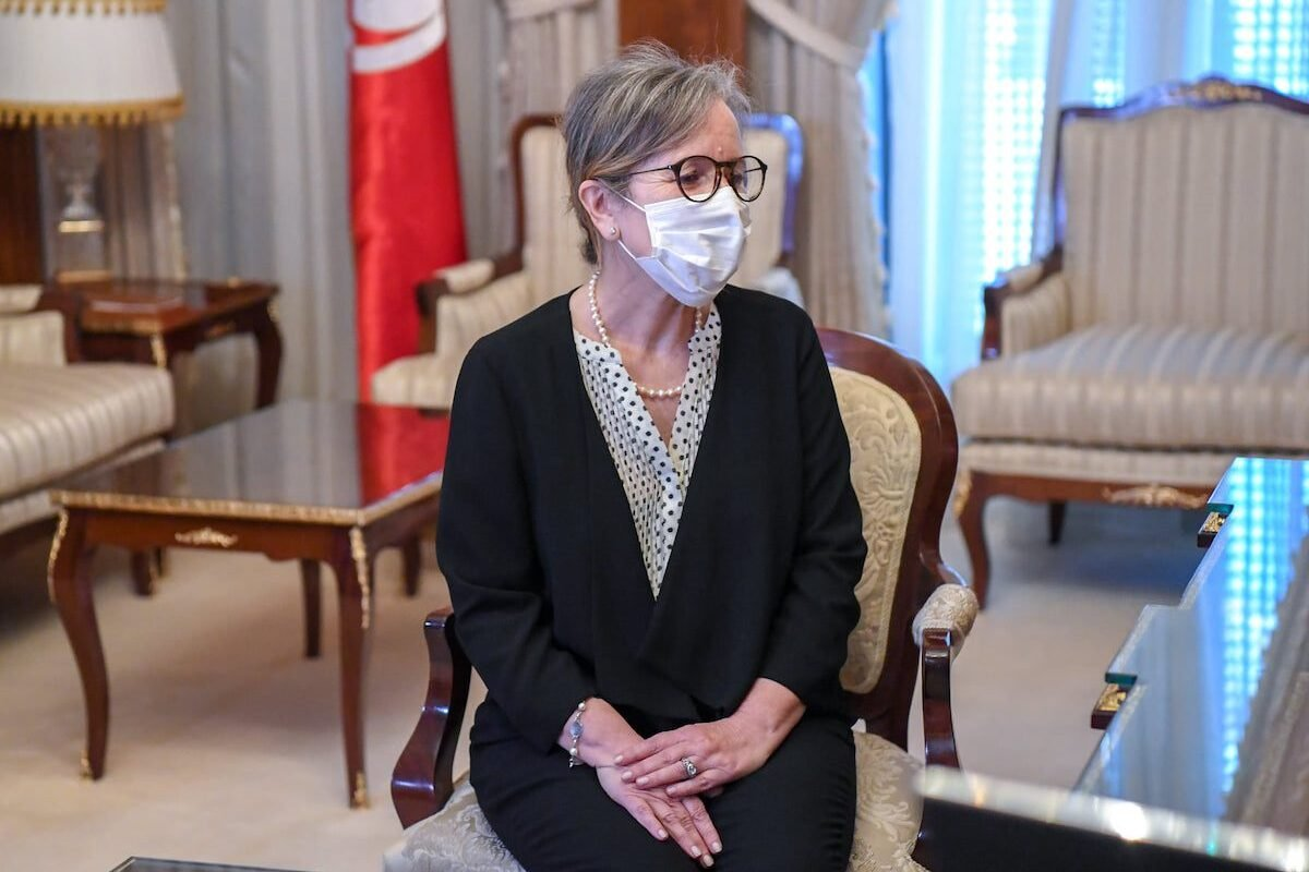 Tunisian President Kais Saied receives Najla Bouden, who was assigned to form a new government, in Tunis, Tunisia on September 29, 2021 [Tunisian Presidency / Anadolu Agency]