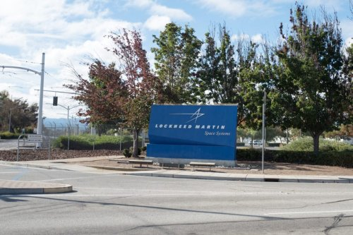 Sign at entrance to regional headquarters of Lockheed Martin Space Systems in the Silicon Valley town of Sunnyvale, California, October 28, 2018. (Photo by Smith Collection/Gado/Getty Images)