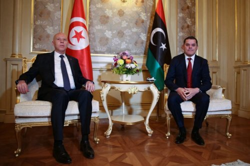 Tunisian President Kais Saied (L) meets with Libya's new interim Prime Minister Abdul Hamid Dbeibah, in the Libyan capital Tripoli, on March 17, 2021 [AFP via Getty Images]