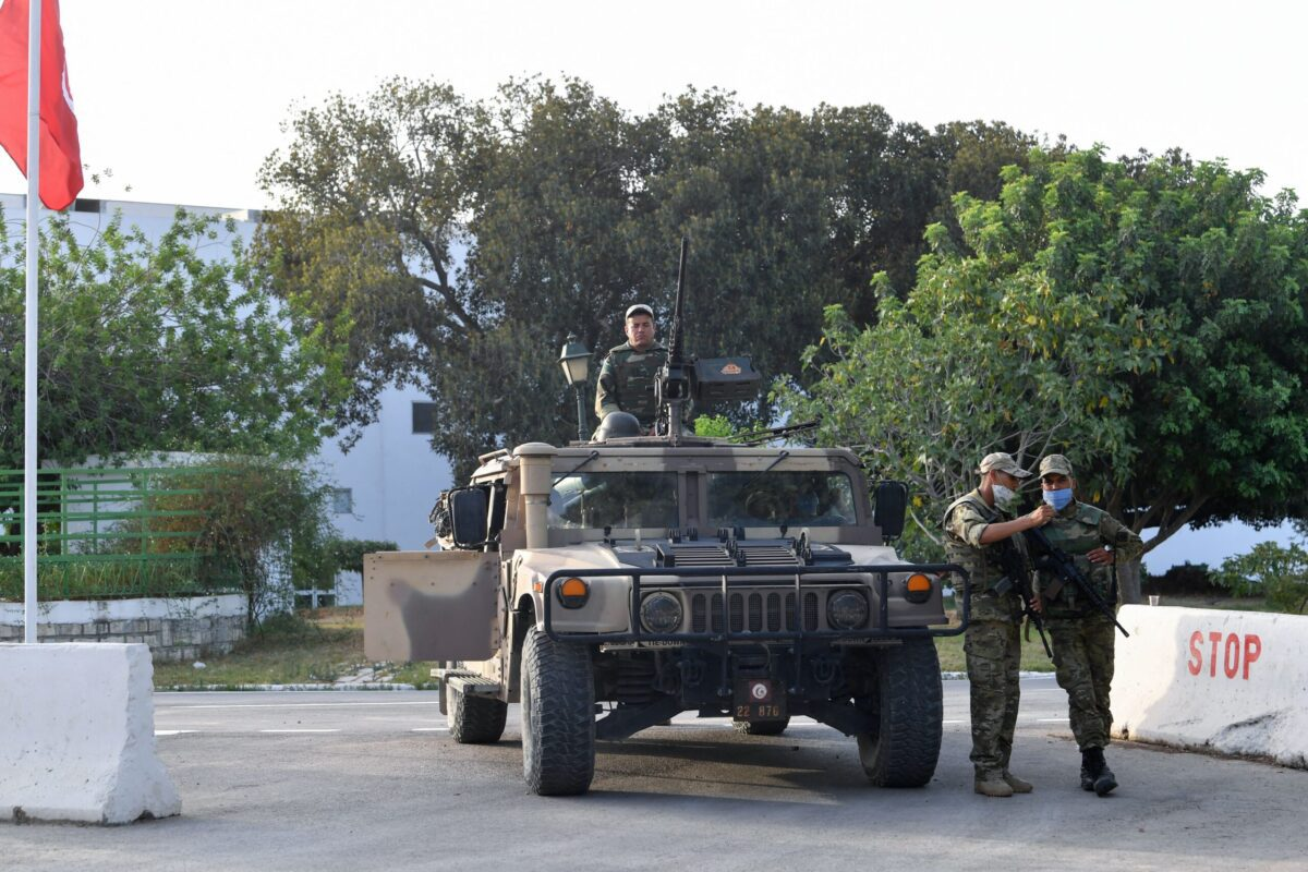 Tunisian soldiers cordon-off the Parliament in the capital Tunis on July 26, 2021 [FETHI BELAID/AFP via Getty Images]