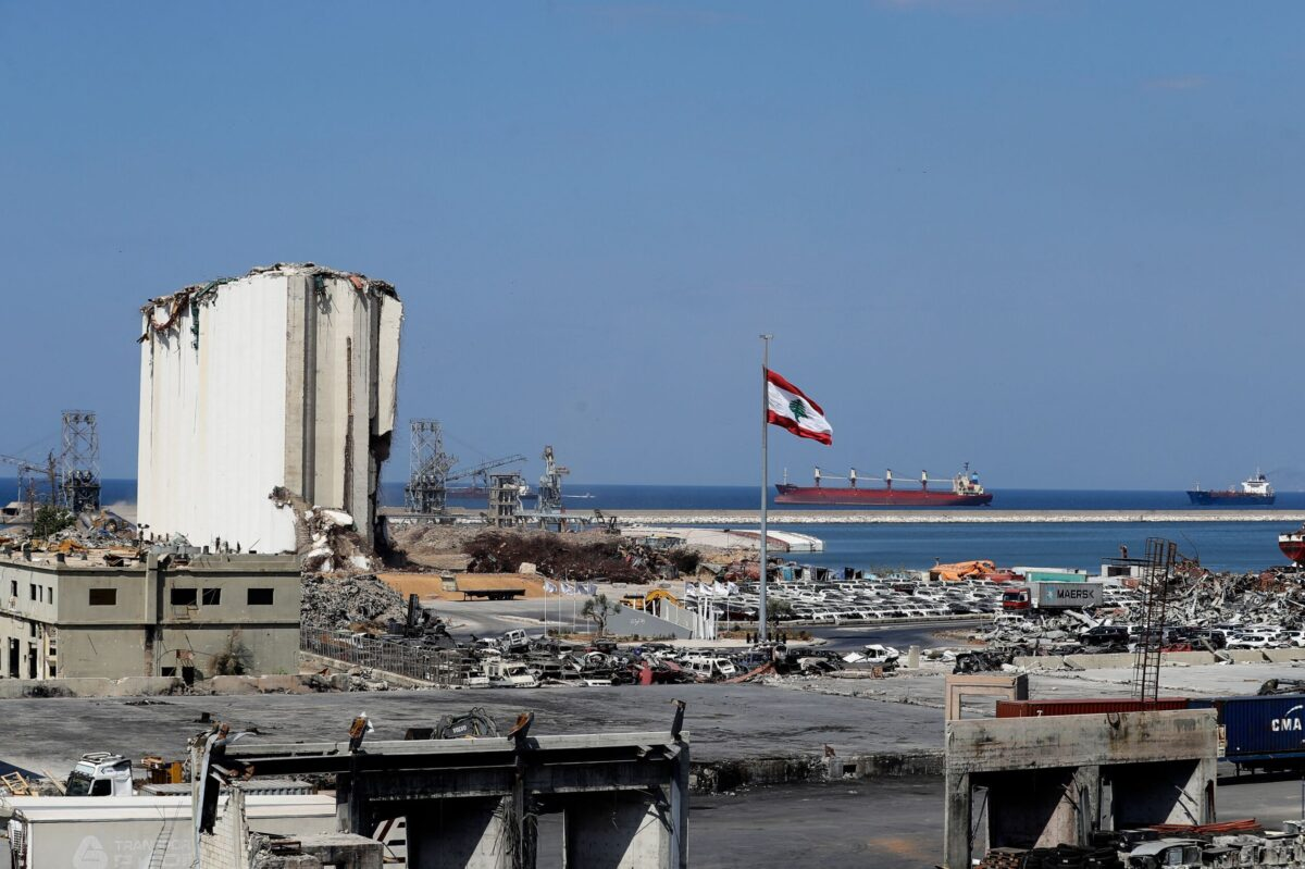 A general view shows the ravaged port of Lebanon's capital Beirut, on September 14, 2021 [JOSEPH EID/AFP via Getty Images]
