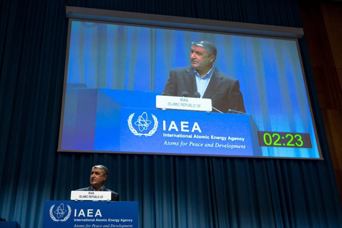 Chief of the Atomic Energy Organization of Iran Mohammad Eslami delivers a speech during the International Atomic Energy Agency (IAEA) General Conference, an annual meeting of all the IAEA member states, at the agency's headquarters in Vienna, Austria on September 20, 2021. (Photo by JOE KLAMAR / AFP) (Photo by JOE KLAMAR/AFP via Getty Images)