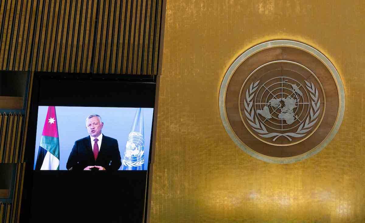 Jordan's King Abdullah II delivers a pre-recorded message at the 76th session UN General Assembly on September 22, 2021, in New York. [JUSTIN LANE/POOL/AFP via Getty Images]
