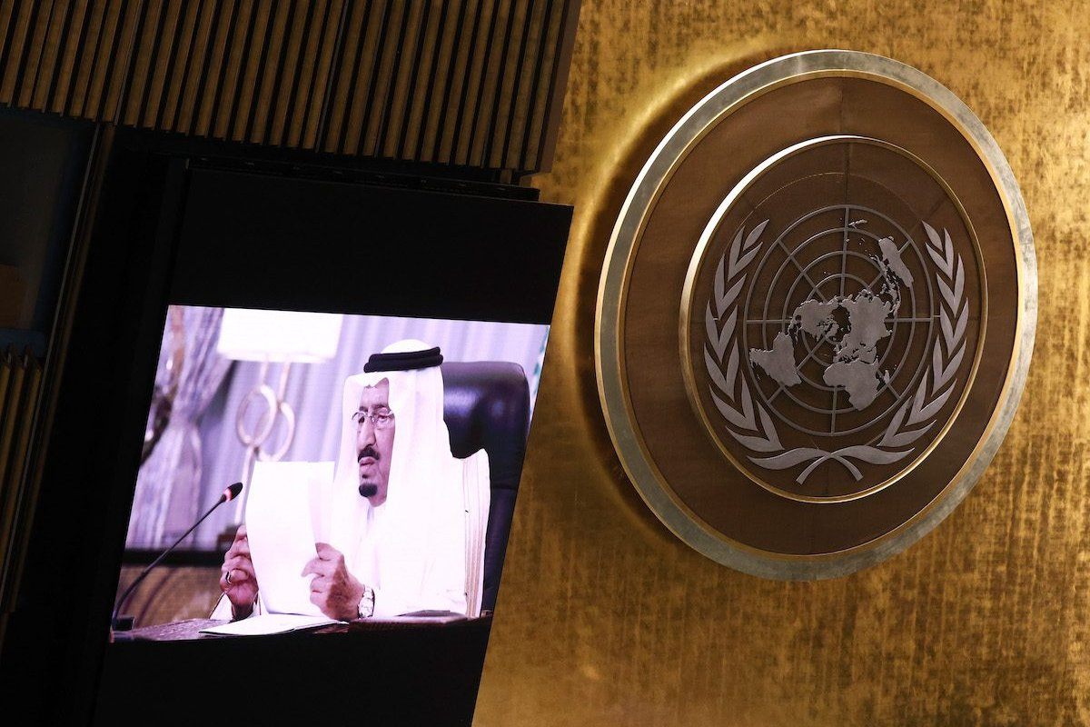 King of Saudi Arabia King Salman Bin Abdulaziz Al-Saud delivers a pre-recorded message at the UN General Assembly 76th session General Debate in UN General Assembly Hall at the United Nations Headquarters on 22 September 2021 in New York City. [John Angelillo-Pool/Getty Images]