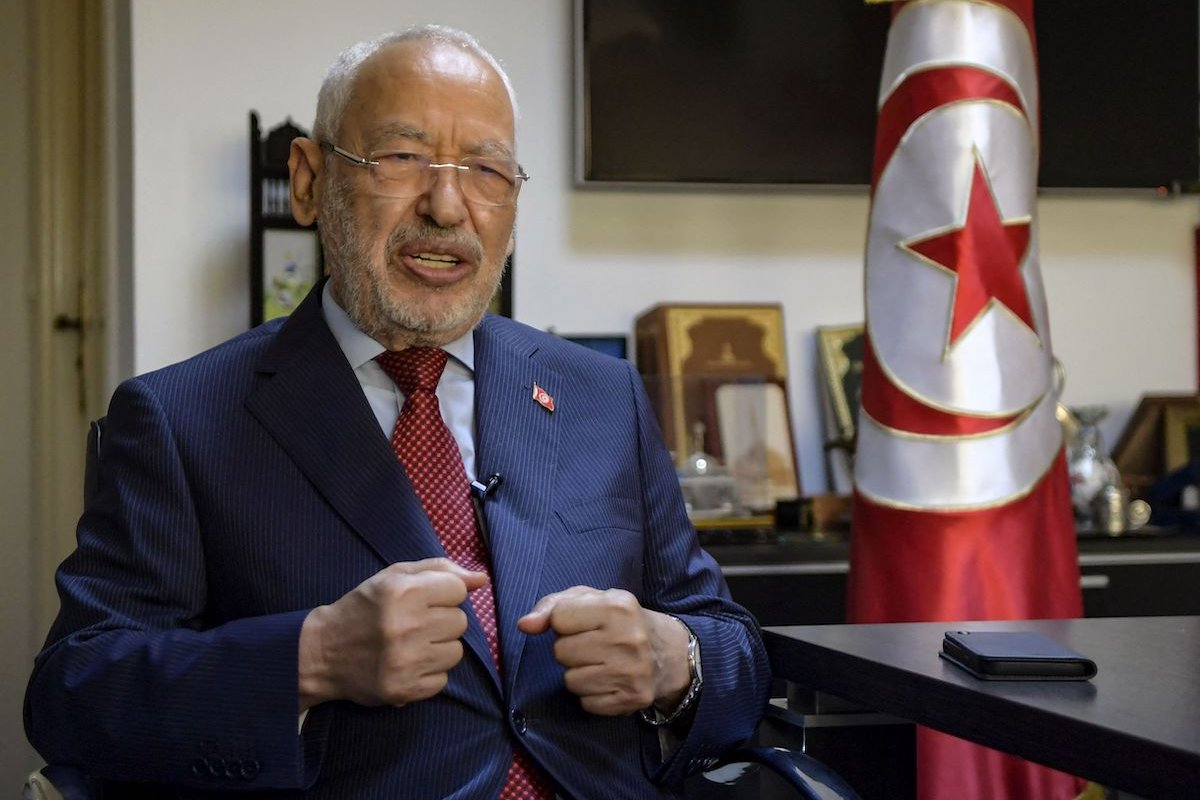 Tunisia's parliament speaker and Ennahdha party leader Rached Ghannouchi speaks during an interview with AFP, at his office in the capital Tunis, on 23 September 2021. [FETHI BELAID/AFP via Getty Images]