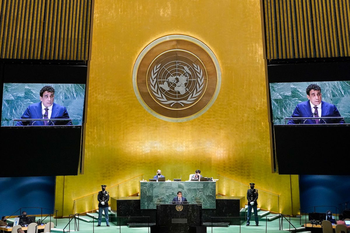 Libyas President Mohamed Younis Menfi addresses the 76th session of the United Nations General Assembly at UN headquarters on September 23, 2021 in New York. [MARY ALTAFFER/POOL/AFP via Getty Images]