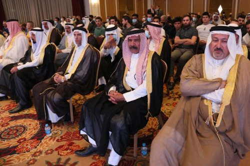 Iraqis attend the conference of peace and reclamation organised by US think-tank Center for Peace Communications (CPC) in Arbil, the capital of northern Iraq's Kurdistan autonomous region, on September 24, 2021. - More than 300 Iraqis, including tribal leaders, attended a conference in autonomous Kurdistan organised by a US think-tank demanding a normalisation of relations between Baghdad and Israel, organisers said. (Photo by Safin HAMED / AFP) (Photo by SAFIN HAMED/AFP via Getty Images)
