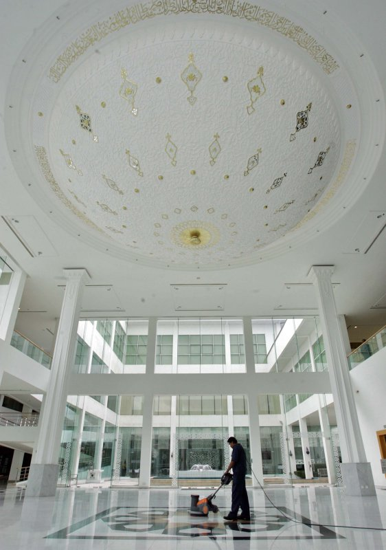 The marble floor in the lobby area of the Islamic Arts Museum in Kuala Lumpur, Malaysia is polished October 25, 2005 [Goh Seng Chong/Bloomberg via Getty Images]
