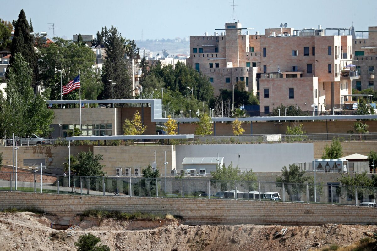 A partial view taken on April 30, 2018 shows the US consulate situated in the no man's land between West and East Jerusalem [THOMAS COEX/AFP via Getty Images]
