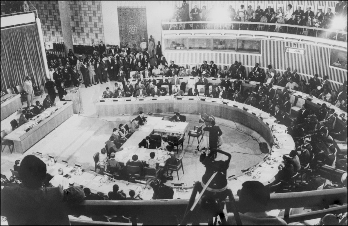 African heads of States and chiefs of Governments members of the Organization of African Unity (OAU), attend a conference, 09 November 1966 in Addis Ababa. OAU was created in May 1963 and is based in Addis Ababa. [AFP via Getty Images]