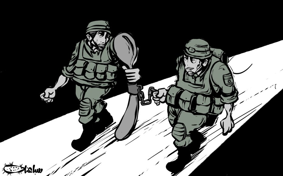 Israel's inevitable failure: how a old rusty spoon defeated it - Cartoon [Sabaaneh/Middle East Monitor]