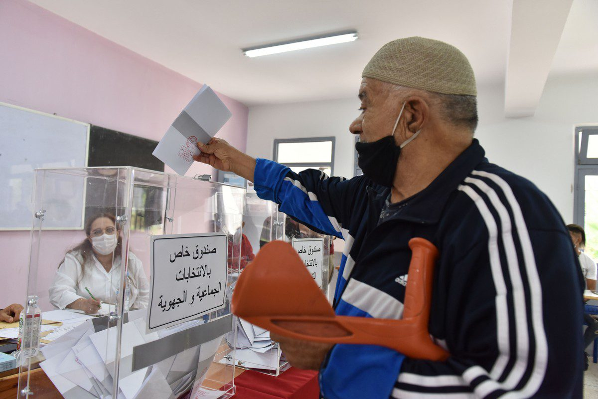 People arrive to cast their votes in the parliamentary and municipal elections, at a polling station in Rabat, Morocco on 8 September 2021 [Jalal Morchidi/Anadolu Agency]