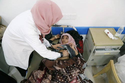 A view from Combating Malnutrition Department of Sabeen Hospital as children receiving medical aid with limited facilities due to malnutrition in Sanaa, Yemen on 12 October 2021. [Mohammed Hamoud - Anadolu Agency]