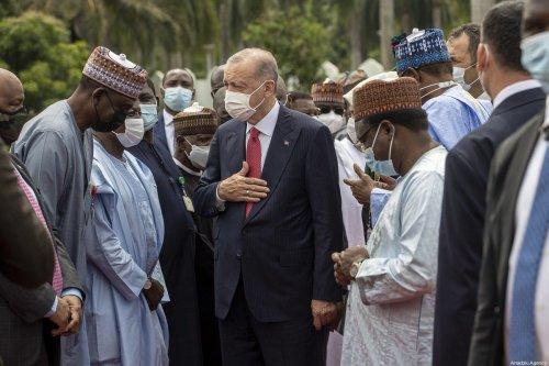 President of Nigeria Muhammadu Buhari (3rd R) welcomes Turkish President, Recep Tayyip Erdogan (C-L) with an official ceremony at the presidential palace in Abuja, Nigeria on October 20, 2021 [Ali Balıkçı / Anadolu Agency]