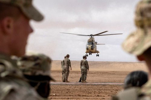 US army soldiers and Moroccan forces during a military exercise on 18 June 2021 [FADEL SENNA/AFP/Getty Images]