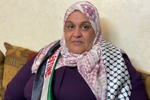 Released by Israel on after serving six years in prison, freed Palestinian prisoner Nisreen Abu Kamil awaits permission to enter the Gaza Strip, in Hebron, West Bank on 18 October 2021 [Hisham K. K. Abu Shaqra/Anadolu Agency]
