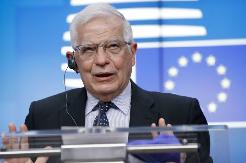 European High Representative of the Union for Foreign Affairs, Josep Borrell gives a press conference at the end of the Special video conference of European Foreign Ministers to discuss recent developments in the Middle East in particular the ongoing violent confrontation in Israel and the Occupied Palestinian Territory in Brussels, on 18 May 2021. [OLIVIER HOSLET/POOL/AFP via Getty Images]