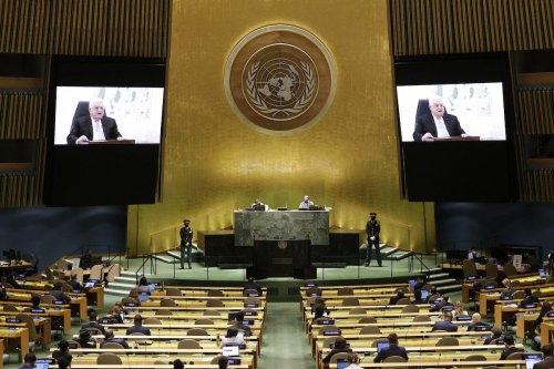 Palestinian President Mahmoud Abbas addresses the 76th session of the United Nations General Assembly at UN headquarters on 24 September 2021 in New York. [JOHN ANGELILLO/AFP via Getty Images]