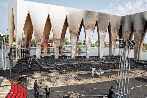A picture taken on October 13, 2021, shows the aftermath of a fire at the main pavilion of the El Gouna Film Festival in Egypt's Red Sea coast. [ALAA AHMED/AFP via Getty Images]