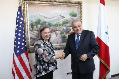 Lebanon's Foreign Minister Abdallah Bou Habib meets US Under-Secretary of State Victoria Nuland in Beirut on 14 October 2021. [ANWAR AMRO/AFP via Getty Images]