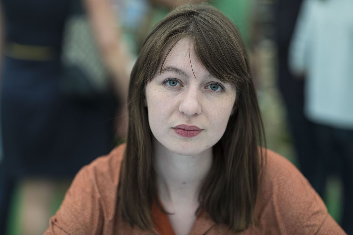 Sally Rooney, novelist, at the Hay Festival on May 28, 2017 in Hay on Wye, United Kingdom. [David Levenson/Getty Images]