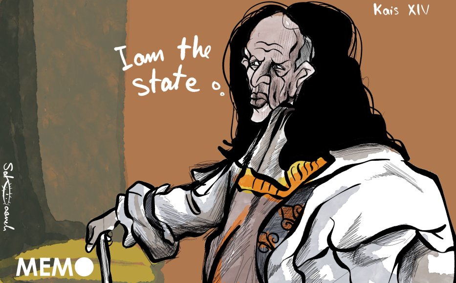 Is Tunisia's president Kais Saied like Louis XIV, King of France? - Cartoon [Sabaaneh/Middle East Monitor]
