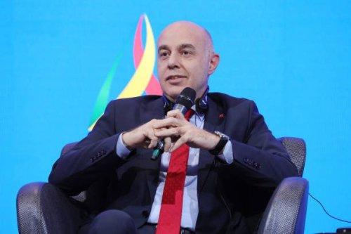 The Turkish ambassador to Iraq, Ali Riza Guney attends Rafidain Forum in Baghdad, Iraq on August 30, 2021 [Haydar Karaalp/Anadolu Agency via Getty Images]
