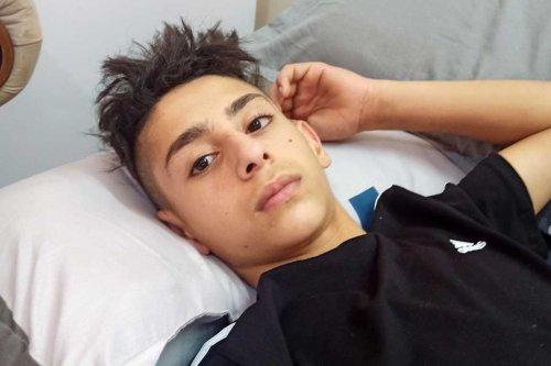 15-year-old Tareq Zbeidi at the hospital [B'Tselem]