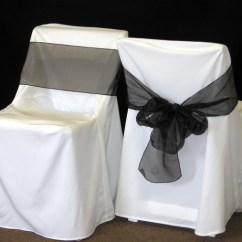 Metal Chair Covers Cosco Zebra High Middle Georgia Tent Rentals Cover With Black Sashes