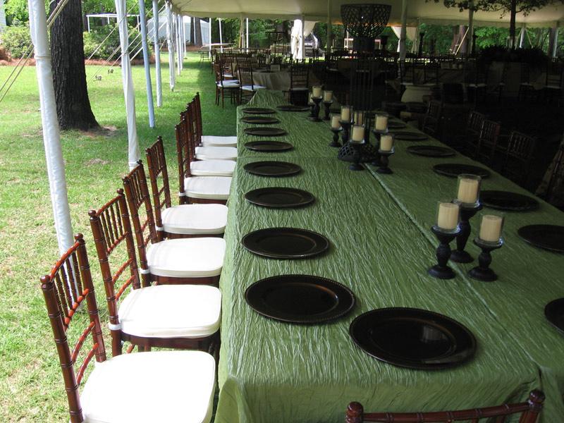 chair cover rentals macon ga folding arm middle georgia tent mahogany chiavari chairs
