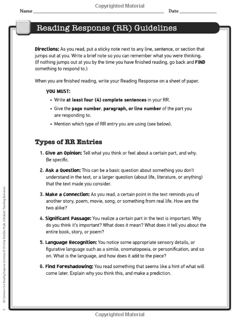 hight resolution of 5 Reading Response Activities to Invite Higher Thinking