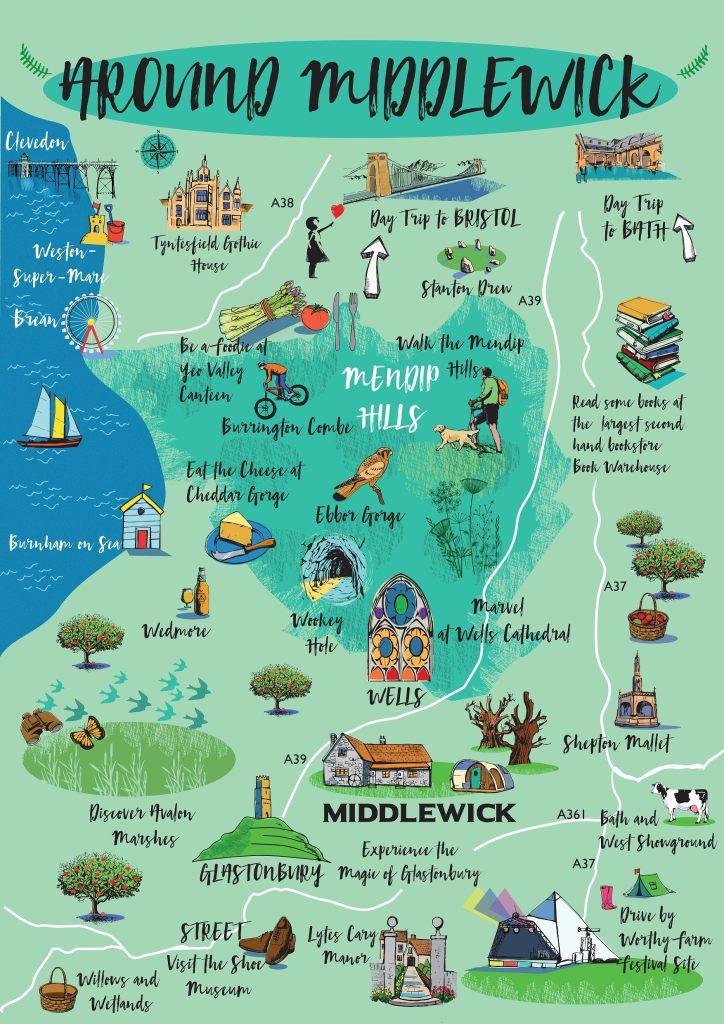 Map of around Glastonbury