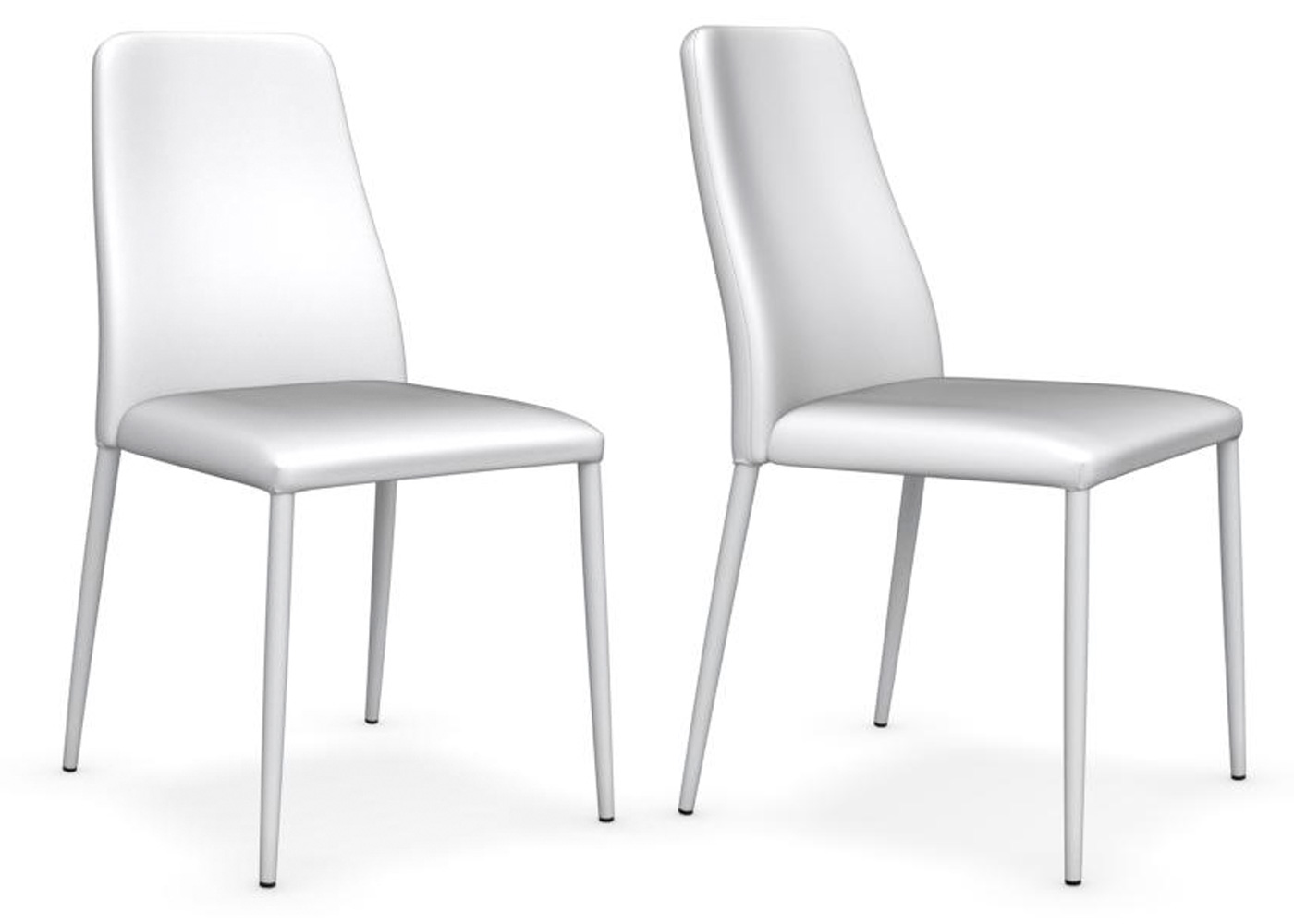 Set of 4 x Calligaris club chairs in white gummy faux