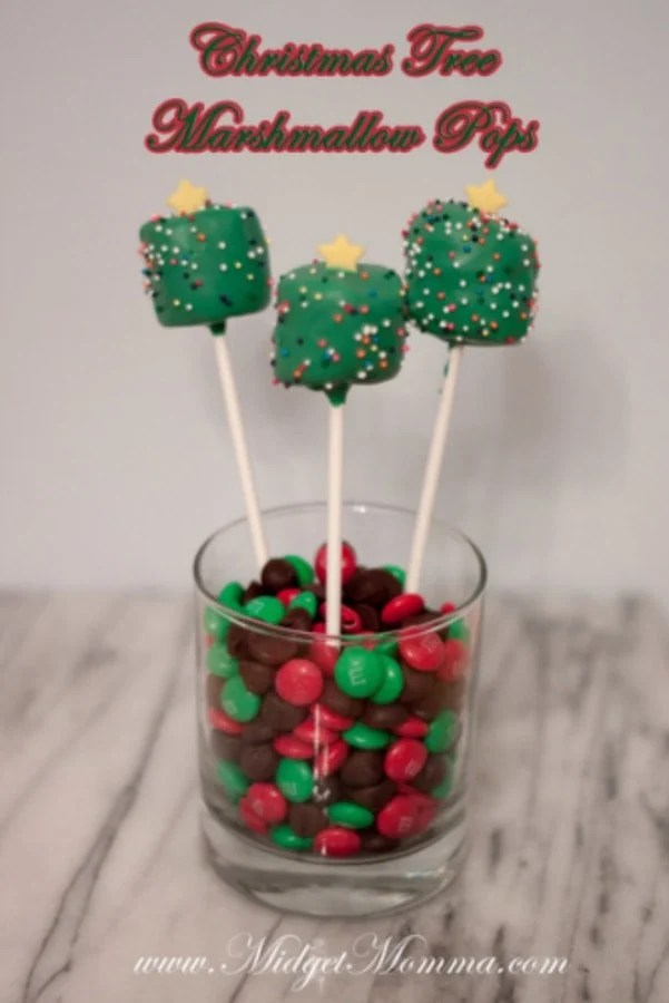 These Christmas tree marshmallow pops are great way to get you in the Christmas spirit. These marshmallows are covered in chocolate and lots of sprinkle.
