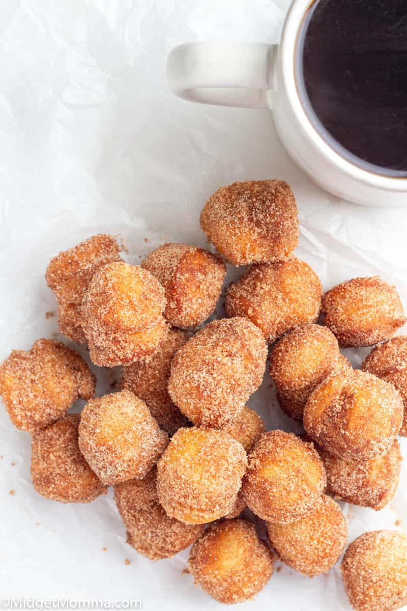 Cinnamon Sugar Donut holes on a plate