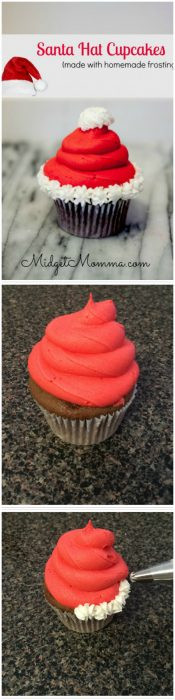 Step by step directions to make the cutest santa hat cupcakes. These Christmas cupcakes look just like a santa hat and have the most amazing homemade buttercream frosting. These christmas santa hat cupcakes are made with homemade cake mix and you can use any cake flavor you want to make this super cute christmas cupcake.