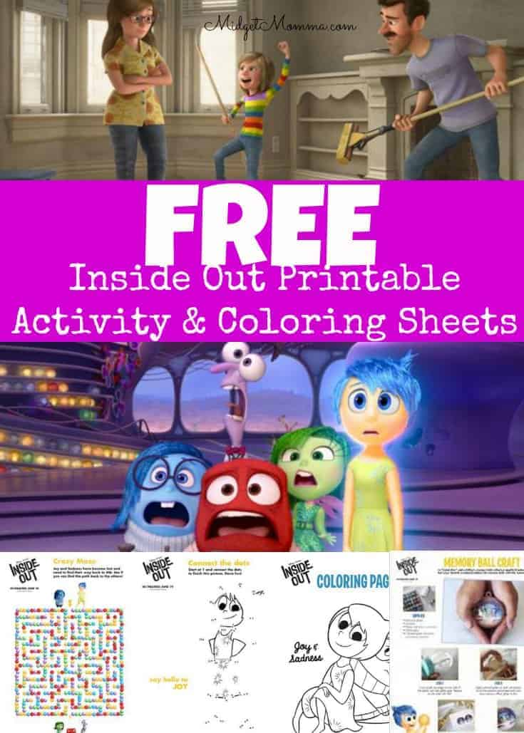 FREE Inside Out Printable Activity Sheets Coloring Pages