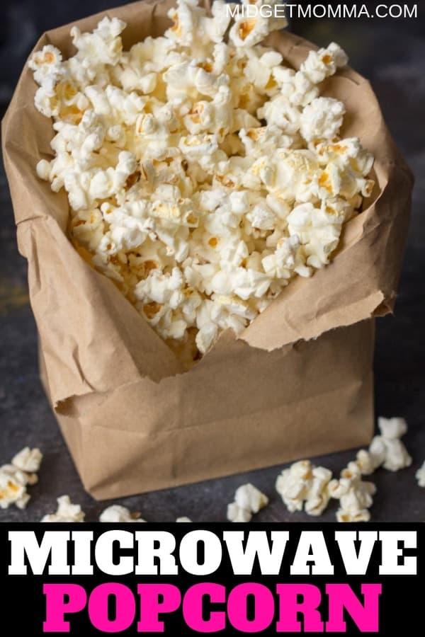 microwave popcorn in brown bag
