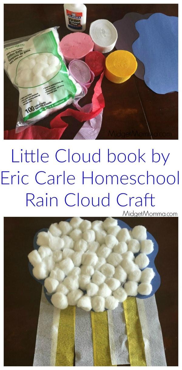 Little Cloud book by Eric Carle Homeschool Rain Cloud Craft  MidgetMomma