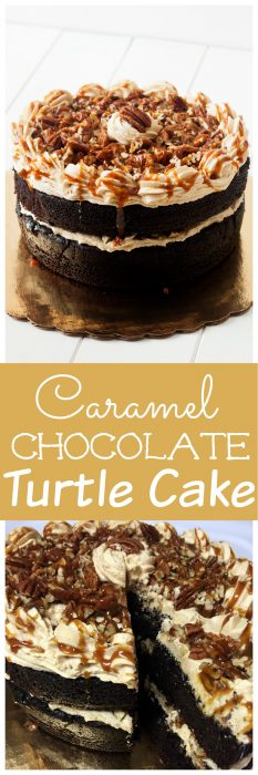 Caramel Chocolate Turtle cake is one of my favorite cakes. An easy chocolate layer cake with homemade caramel sauce, homemade chocolate cake and homemade caramel frosting. Put it all together and you have a chocolate cake everyone will love! #Chocolate #Caramel #Turtle #turtlecake #chocolatecake #CaramelIcing #homemadecaramel