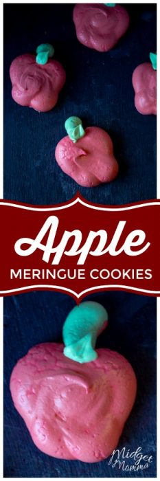 These apple meringue cookies are a light and airy cookie, pick from having a vanilla meringue or an apple meringue cookie flavor. #Apple #Vanilla #cookie #Meringue